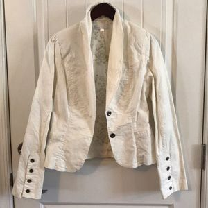 Jackets & Blazers - White cotton  jacket with floral inside lining